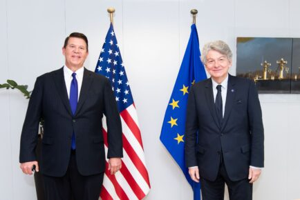 Krach and EU Breton meet on the importance of EU and U.S. partnership for securing telecommunications infrastructure--September 30, 2020, Brussels, Belgium.