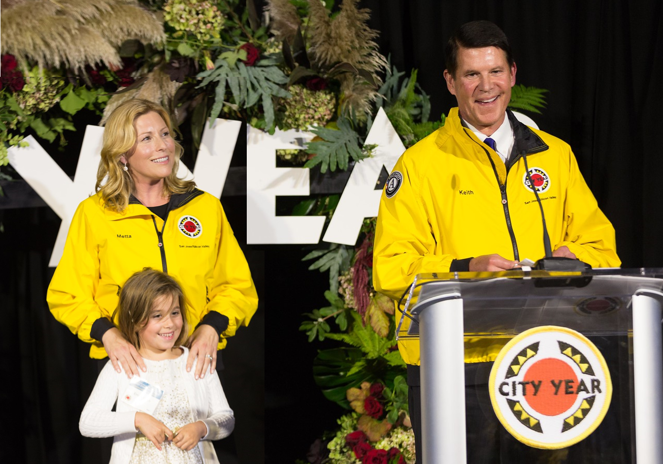 Photo Caption: Keith and wife Metta, along with Emma, being honored with City Year 2018 Citizen Leadership Award