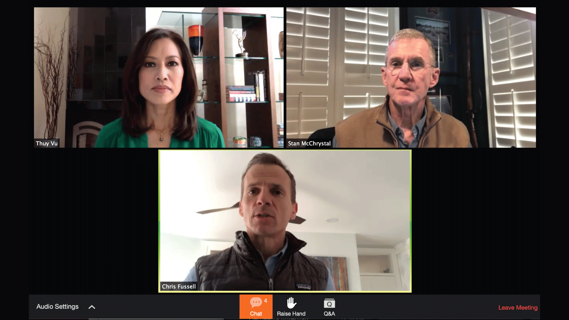 Stan McChrystal and Chris Fussell of the McChrystal Group, with Thuy Vu, Global Mentor Network