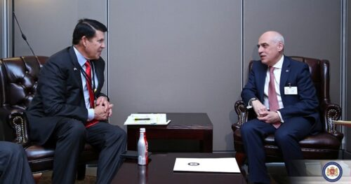 Keith Krach and Georgian Foreign Minister David Zalkaliani spoke on a wide range of issues of bilateral agenda in New York. Photo: Georgian Foreign Ministry press office