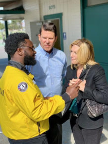 Keith and Metta Krach with Wes Baker, City Year Senior Impact Manager at Aptitud Community Academy