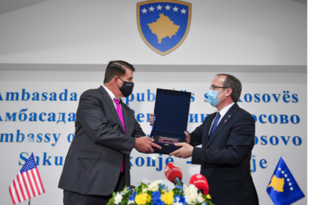 Under Secretary Krach receives gift from Kosovo Prime Minister Hoti at signing ceremony