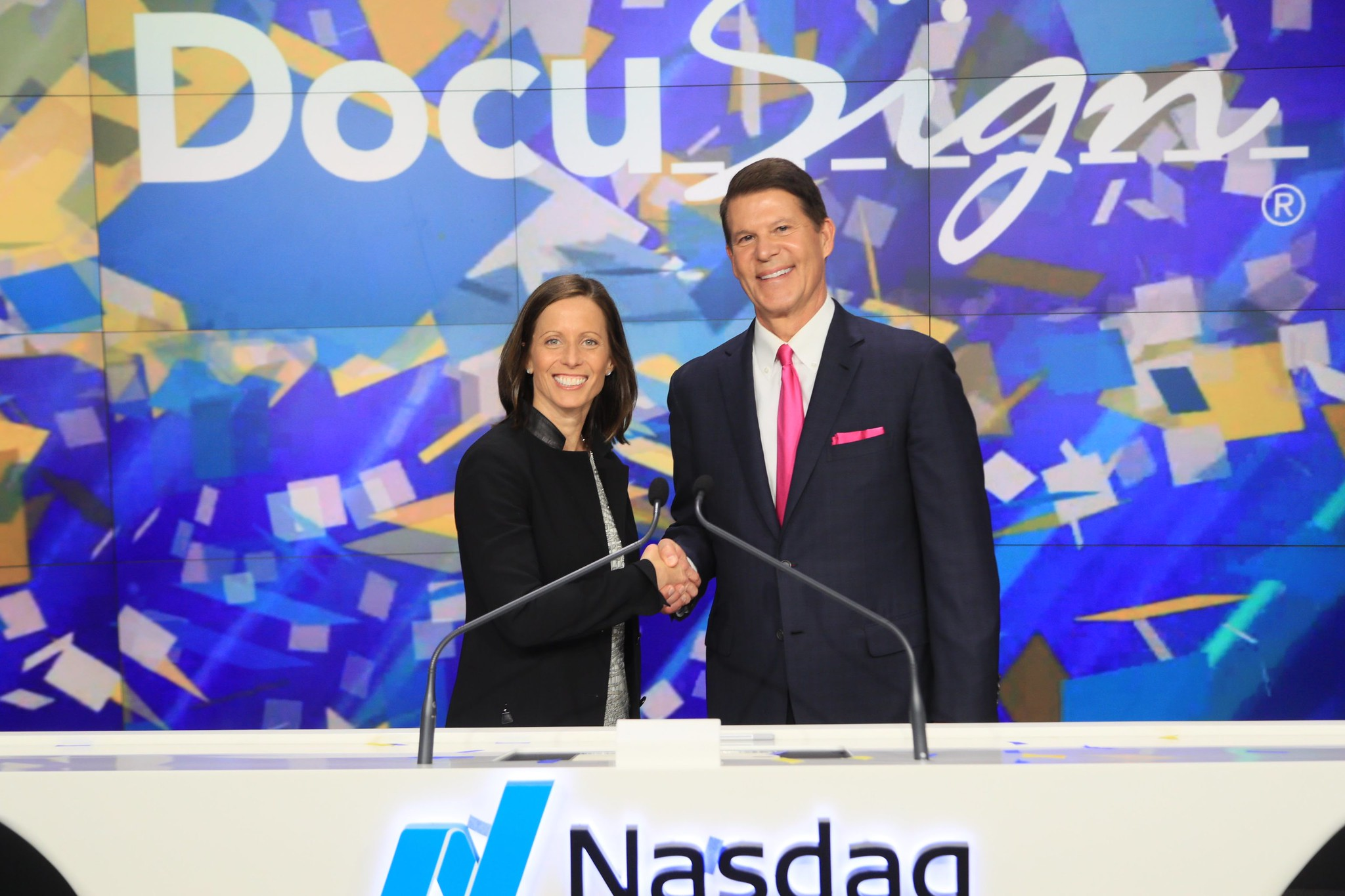 Krach with Nasdaq CEO Adena Friedman, congratulating him on his 3rd Nasdaq IPO