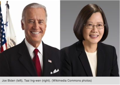 Joe Biden (left), Tsai Ing-wen (right). (Wikimedia Commons photos).