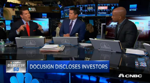 """DocuSign CEO Krach explaining what he likes about paper being the competition—""""there is a lot of it and it doesn't punch back."""""""