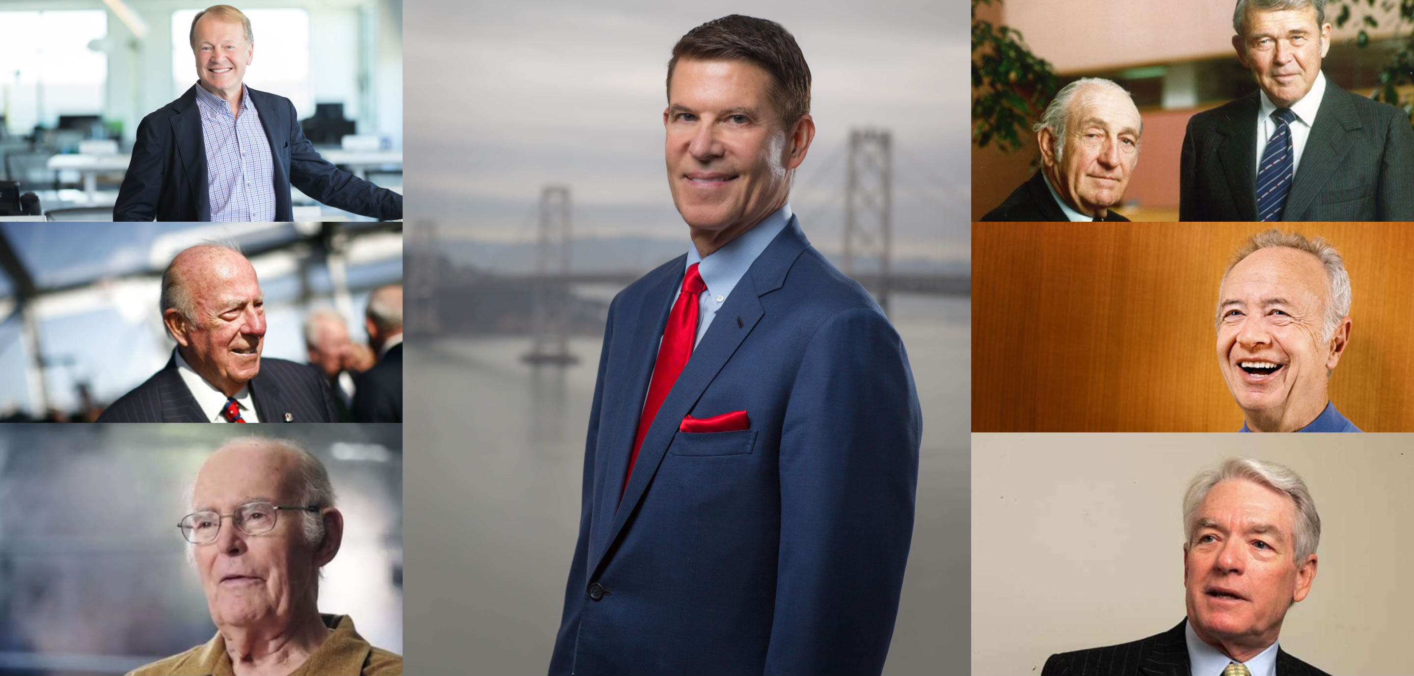 """Previous """"Business Leaders of the Year"""" honored by Harvard Business School Association Northern California; Counterclockwise from top left: John Chambers, George Shultz, Gordon Moore, Chuck Schwab, Andy Grove, Dave Packard & Bill Hewlett. Middle: """"2018 Business Leader of the Year"""" Keith Krach"""