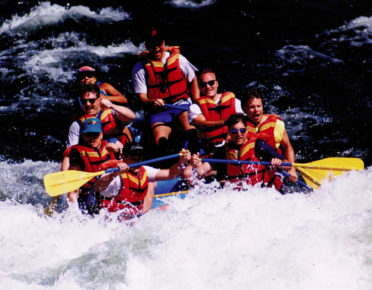 Krach and his Rasna executives teambuilding and taking a practice run shooting the rapids