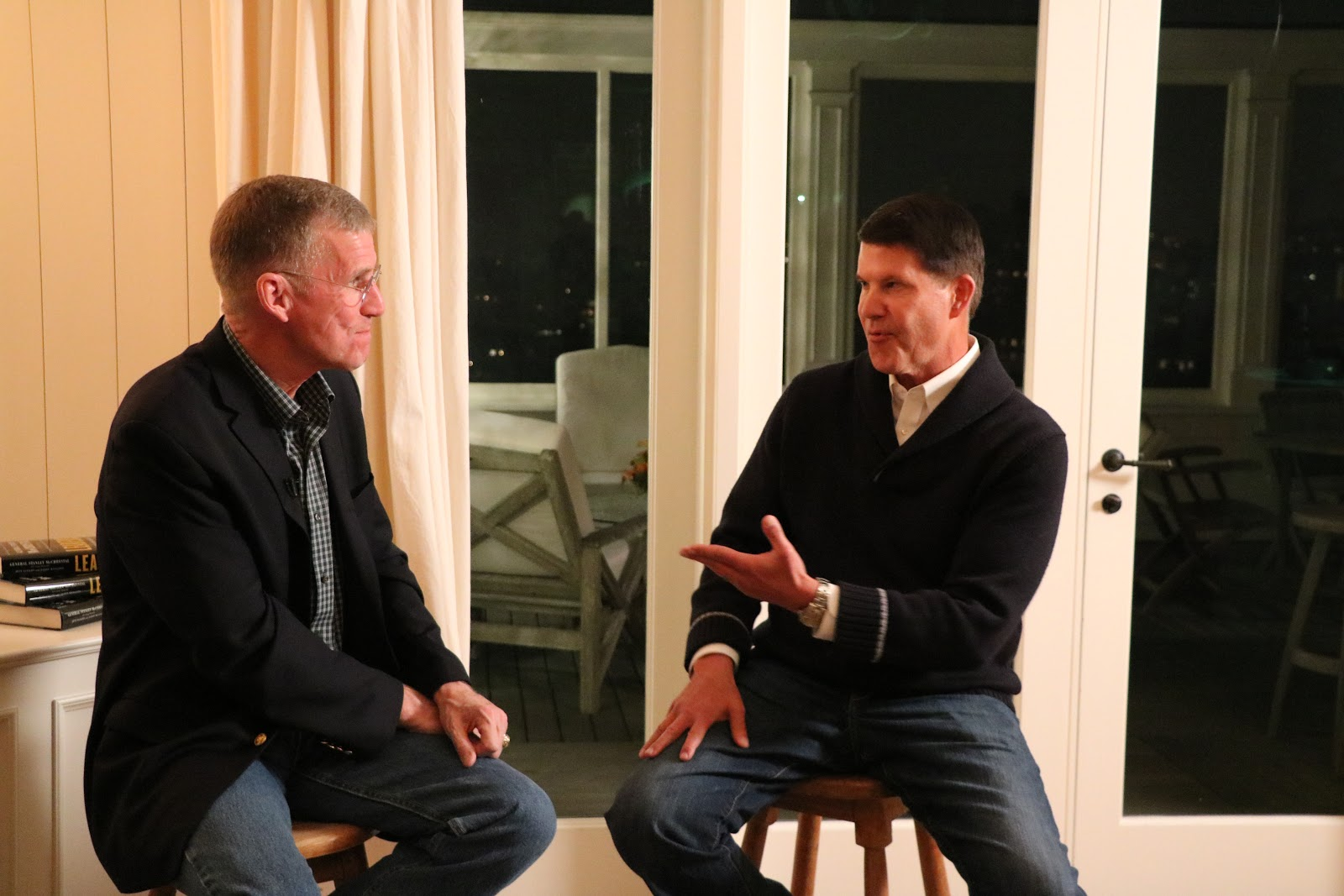 General Stanley McChrystal (left) with Keith Krach at Krach's home in San Francisco